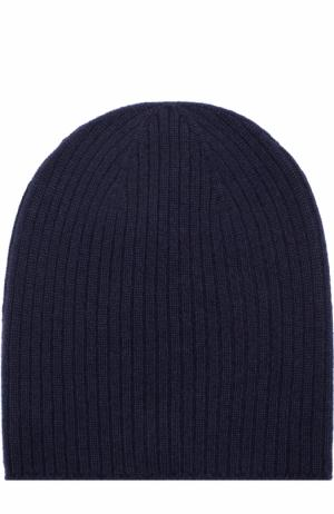 Вязаная шапка из кашемира Johnstons Of Elgin. Цвет: темно-синий