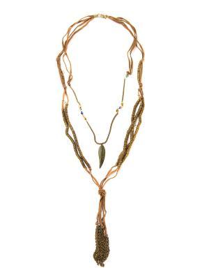 Колье бронзовый листок Indira. Цвет: коричневый