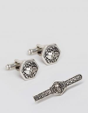ASOS Подарочный набор с зажимом для галстука и запонками черепами. Цвет: серебряный