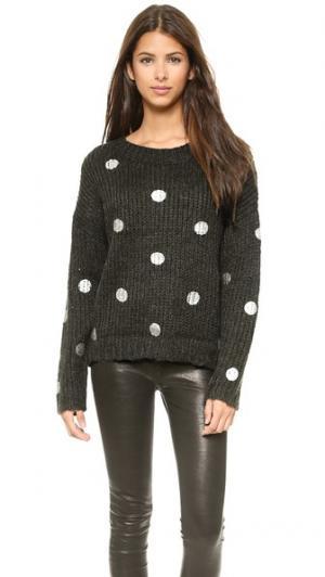 Металлизированный свитер с принтом в горошек JOA