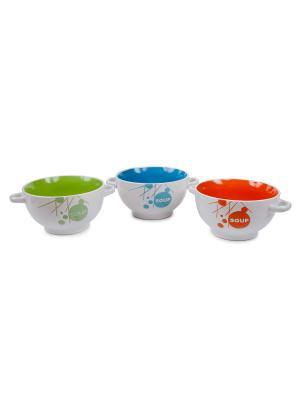Салатница с 2-мя ручками Elff Ceramics. Цвет: белый, оранжевый