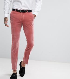 Noose & Monkey Суперузкие бархатные брюки. Цвет: розовый