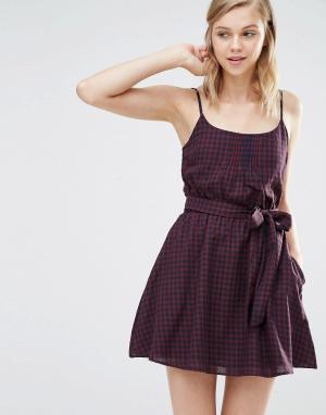 Jack Wills Платье в клеточку с ремнем. Цвет: мульти