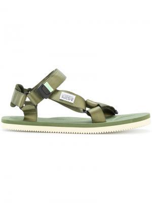 Атласные сандалии Suicoke. Цвет: зелёный