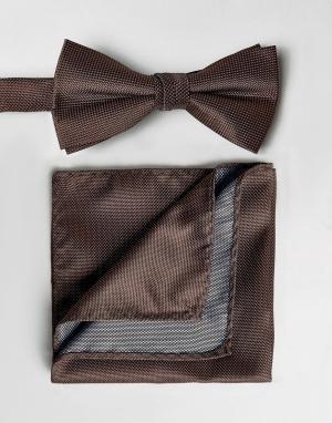 Selected Homme Галстук-бабочка и платок для пиджака. Цвет: красный