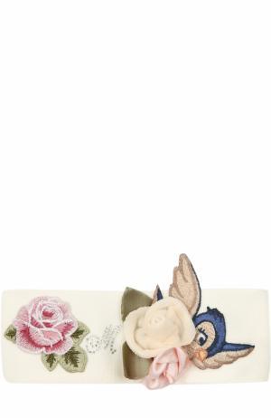 Повязка на голову с аппликациями Monnalisa. Цвет: белый