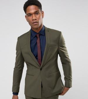 Noak Супероблегающий пиджак цвета хаки с ровным краем. Цвет: зеленый