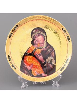 Тарелка декоративная Пресвятая Богородица Владимирская Elan Gallery. Цвет: золотистый, коричневый, оранжевый