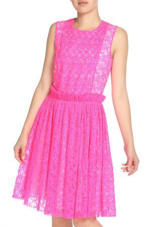 Полуприлегающее платье с кружевом MSGM. Цвет: ультра розовый
