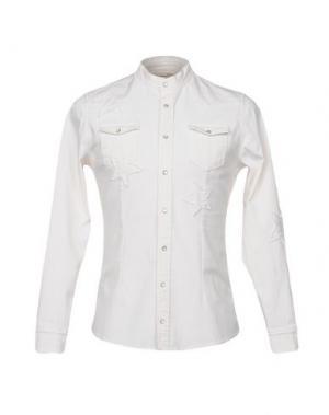 Джинсовая рубашка DANIELE ALESSANDRINI. Цвет: слоновая кость