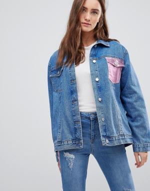 Chorus Джинсовая куртка оверсайз с карманом металлик. Цвет: синий
