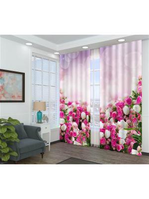 Фотошторы Душистый цвет и бабочки Сирень. Цвет: розовый, сиреневый