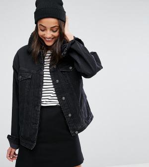 ASOS Tall Черная выбеленная джинсовая куртка с воротником борг. Цвет: черный