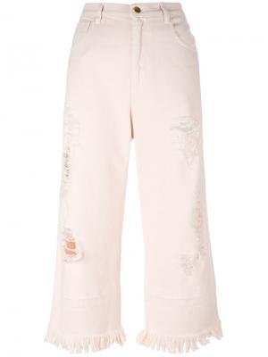 Укороченные джинсы с потертой отделкой Marco Bologna. Цвет: розовый и фиолетовый