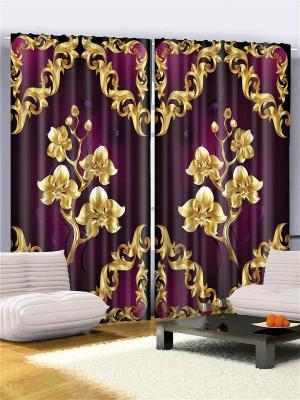 Комплект фотоштор Золотые орхидеи, 290*265 см Magic Lady. Цвет: фиолетовый, бежевый, белый