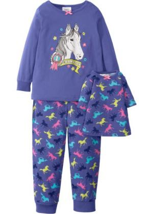 Пижама + ночная рубашка для куклы (3 изд.) (лилово-синий) bonprix. Цвет: лилово-синий