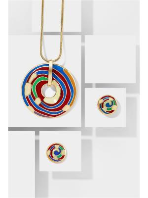 Набор украшений Парад Планет: цепочка с кулоном и серьги Nothing but Love. Цвет: золотистый, красный, синий