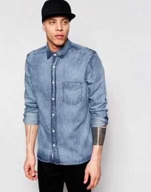 Cheap Monday Синяя мраморная джинсовая рубашка классического кроя. Цвет: синий