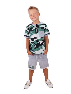 Футболка, шорты, коллекция Дозор Апрель. Цвет: бежевый, зеленый, серый