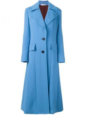 Длинное однобортное пальто Marni. Цвет: синий