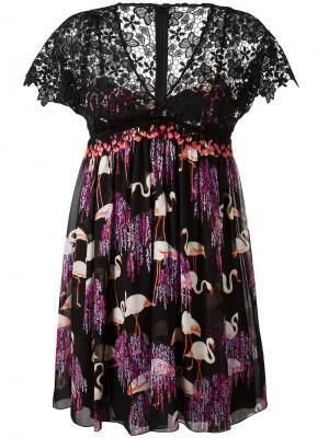 Плиссированное платье с принтом фламинго Giamba. Цвет: чёрный