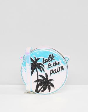 Skinnydip Блестящая сумка через плечо с принтом Talk To the Palm. Цвет: мульти