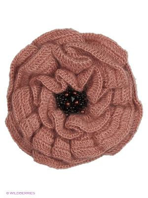 Брошь-цветок Мак пепельно-розовый расшитый натуральным жемчугом, стразами Swarovski SEANNA. Цвет: светло-коричневый