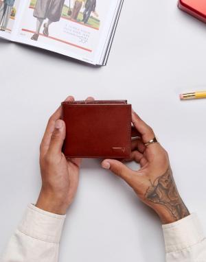 Levis Коричневый кожаный бумажник. Цвет: черный
