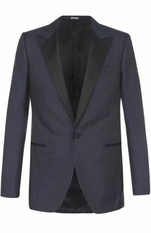 Вечерний шелковый пиджак с остроконечными лацканами Lanvin. Цвет: темно-синий