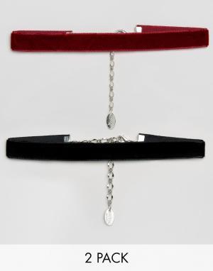 Krystal 2 бархатных ожерелья-чокер. Цвет: черный