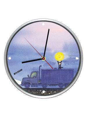 Часы настенные Mitya Veselkov. Цвет: голубой, желтый