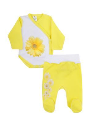Набор одежды: боди-распашонка, ползунки Коллекция Ромашки КОТМАРКОТ. Цвет: желтый