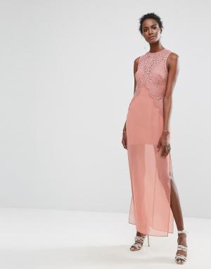 Keepsake Платье макси с кружевной отделкой Be One. Цвет: темно-синий