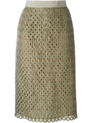Кружевная юбка Marco Bologna. Цвет: зелёный