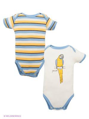 Боди, 2 шт. Hudson Baby. Цвет: голубой, молочный, желтый