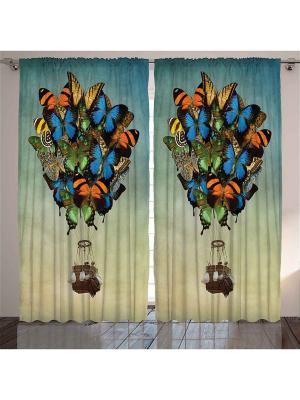 Комплект фотоштор сине-бежевый Рыжие, зелёные и жёлтые бабочки, несущие воздушный шар, 290*265 см Magic Lady. Цвет: голубой, бежевый, зеленый, коричневый, оранжевый, синий