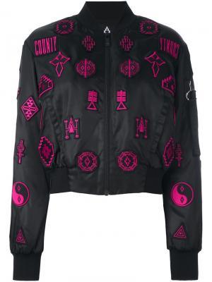 Куртка-бомбер Lise Marcelo Burlon County Of Milan. Цвет: чёрный