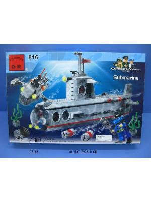 Конструктор Военная подводная лодка с аксесс., 382 дет. ENLIGHTEN. Цвет: синий, зеленый, серый