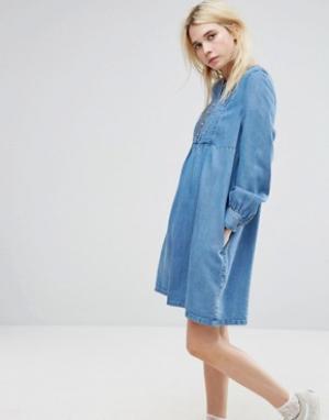 Paul & Joe Платье из ткани шамбре Sister. Цвет: синий