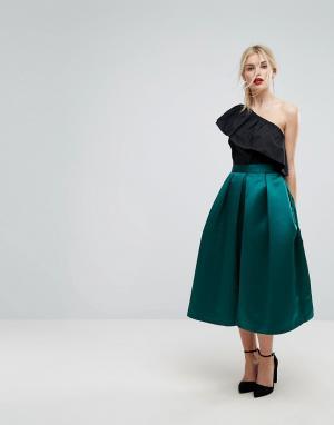 Closet London Пышная атласная юбка миди для выпускного. Цвет: зеленый