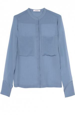 Шелковая блуза прямого кроя с накладными карманами Dorothee Schumacher. Цвет: голубой