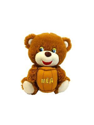 Мишутка с бочонком меда, озвученный, 21 см(MP-HH-R8999E) MAXITOYS. Цвет: коричневый, бежевый, оранжевый