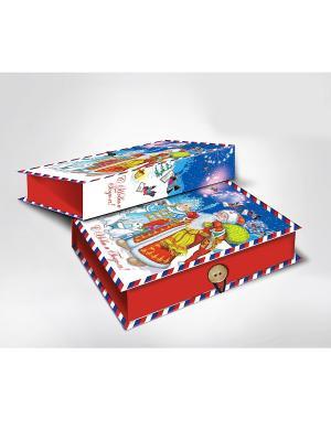 Коробка подарочная ДЕД МОРОЗ, СНЕГУРОЧКА И ЗАЙЦЫ Magic Time. Цвет: синий, красный