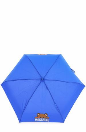 Складной зонт с брелоком Moschino. Цвет: синий