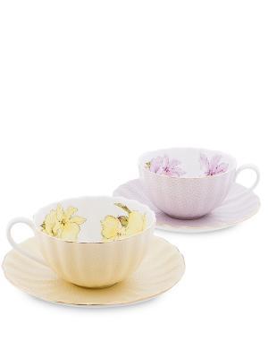 Чайный н-р на 2 перс. Густо Лючия (Pavone) Pavone. Цвет: персиковый, фиолетовый