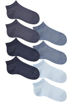 Короткие носки, 8 пар GO IN. Цвет: 2х темно-синий+2х темный деним+2х деним+2х голубой, 4х черный+4х белый, 8х черный