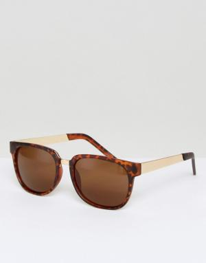 Jeepers Peepers Круглые солнцезащитные очки в черепаховой оправе. Цвет: коричневый