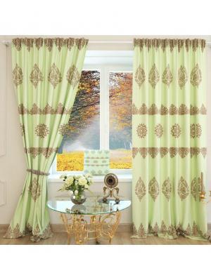 Фотошторы Новогодняя Коллекция 60 Сатен 245X152 Олимп Текстиль. Цвет: светло-зеленый, хаки, терракотовый