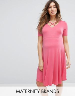 New Look Maternity Короткое приталенное платье для беременных. Цвет: оранжевый