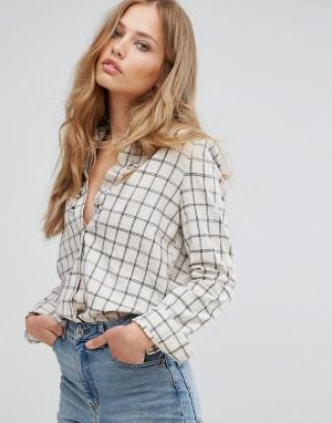 Suncoo Рубашка в клетку с отделкой камнями. Цвет: белый